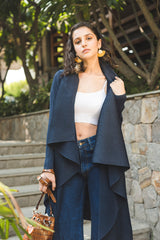 Navy Blue Pleated Cape - Spotstyl