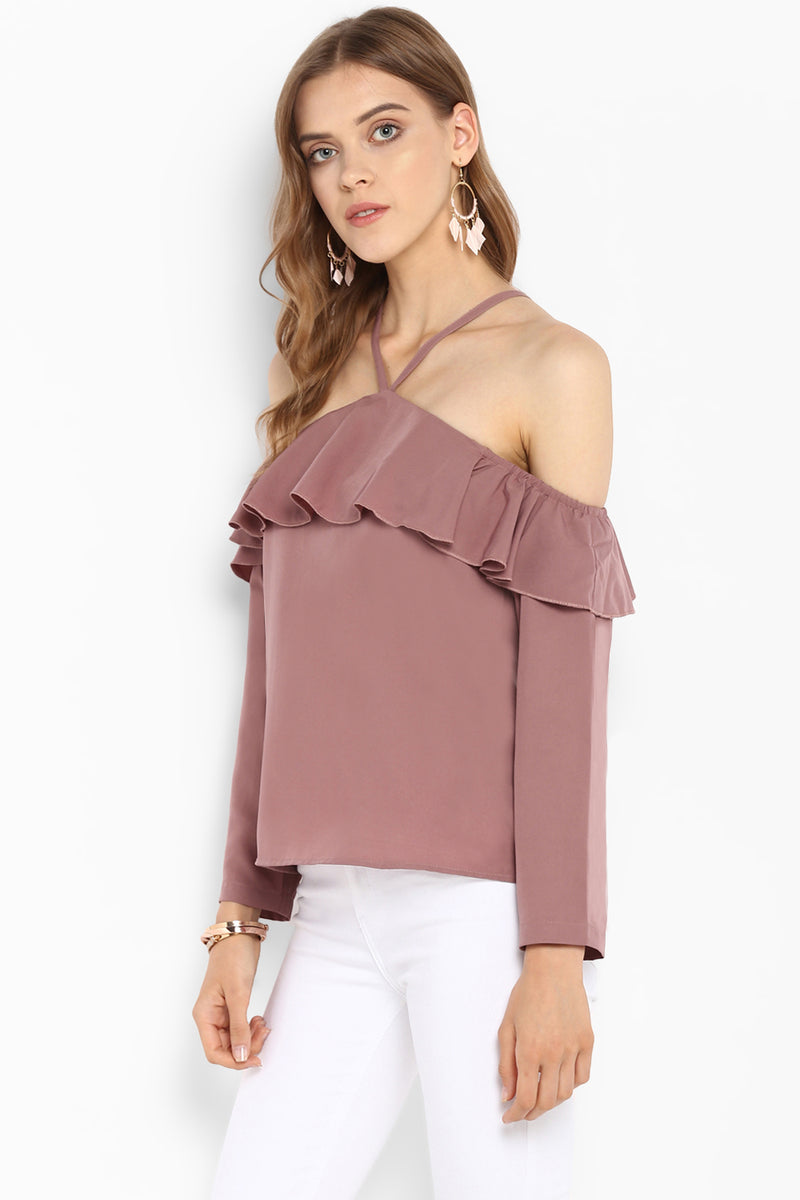 Dusty Rose Off Shoulder Top - Spotstyl