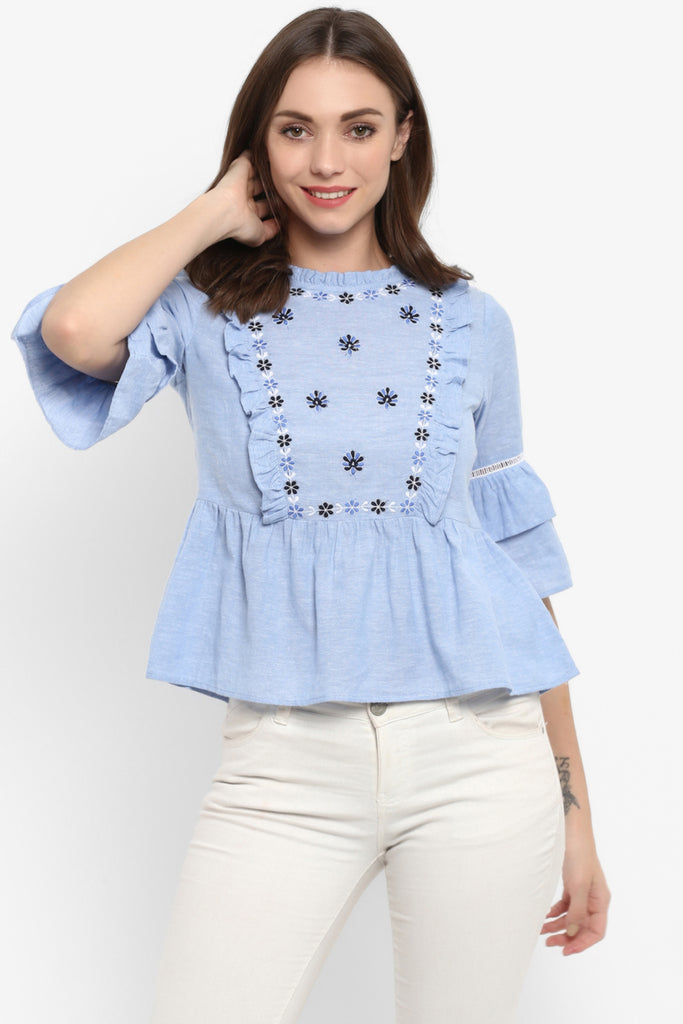 Floral Embroidered Chambray Bell Sleeves Top