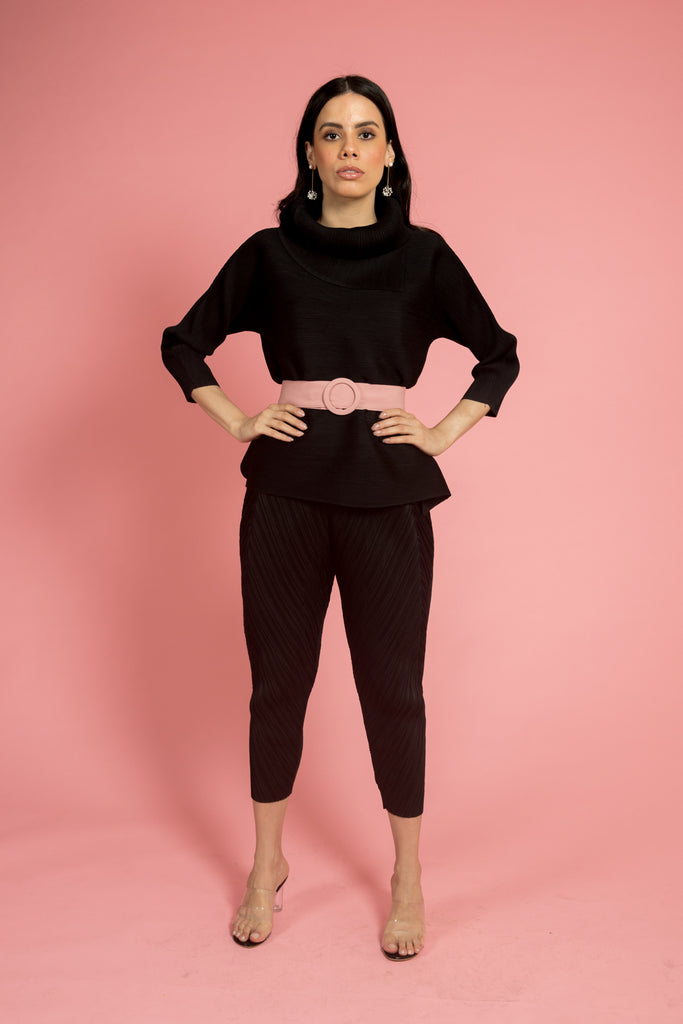 Black Pleated Top (Full Sleeves)