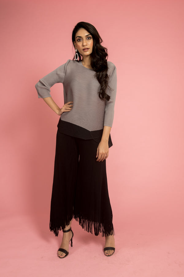 Grey Round Neck Pleated Top - Spotstyl