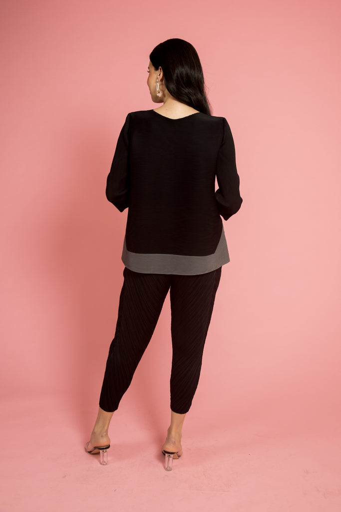 Dark Grey Round Neck Pleated Top