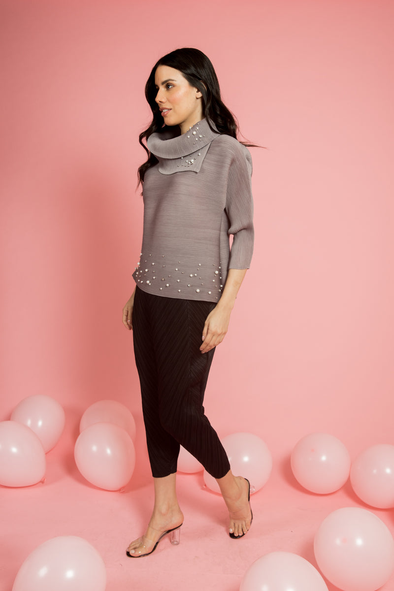 Grey Pleated Top With Pearls (Full-Sleeves) - Spotstyl