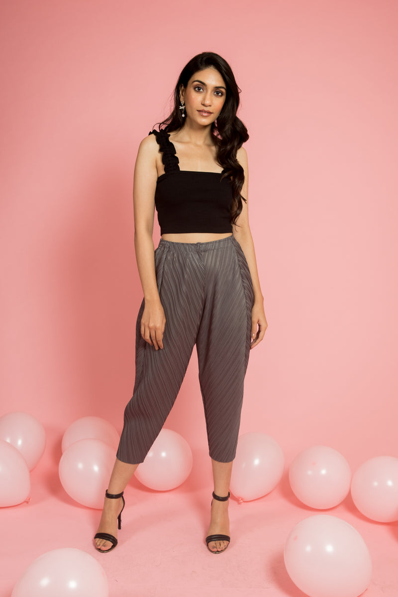 Grey Pleated Dhoti pants - Spotstyl
