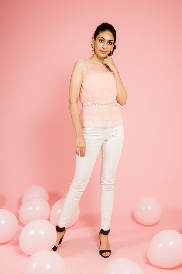 Pink Sheer Detail Top with Belt