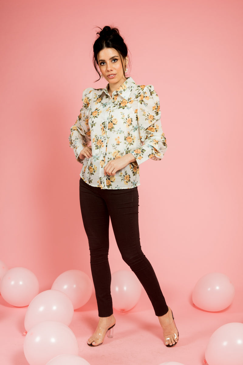 White Puff Sleeves Floral Top - Spotstyl