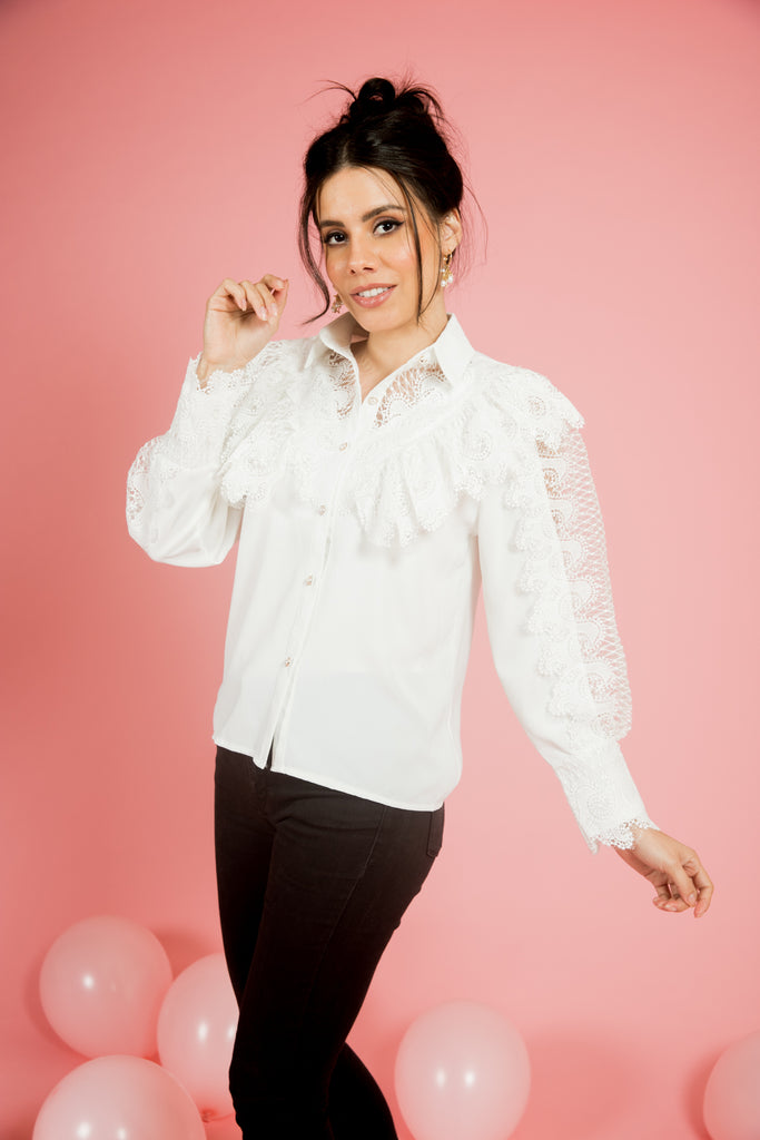 White Lace Button Down