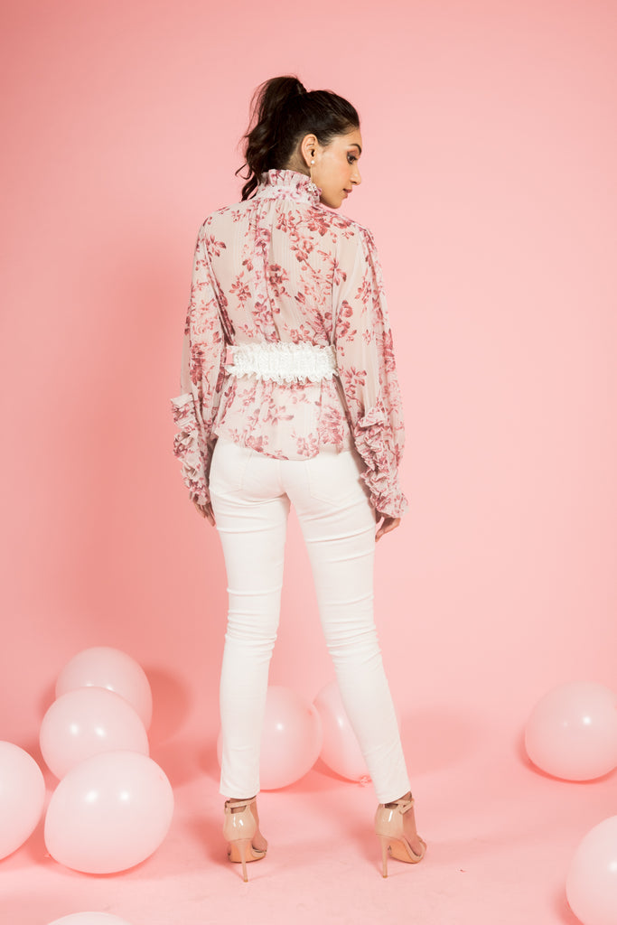 Pink Floral Top with Neck Bow Detail