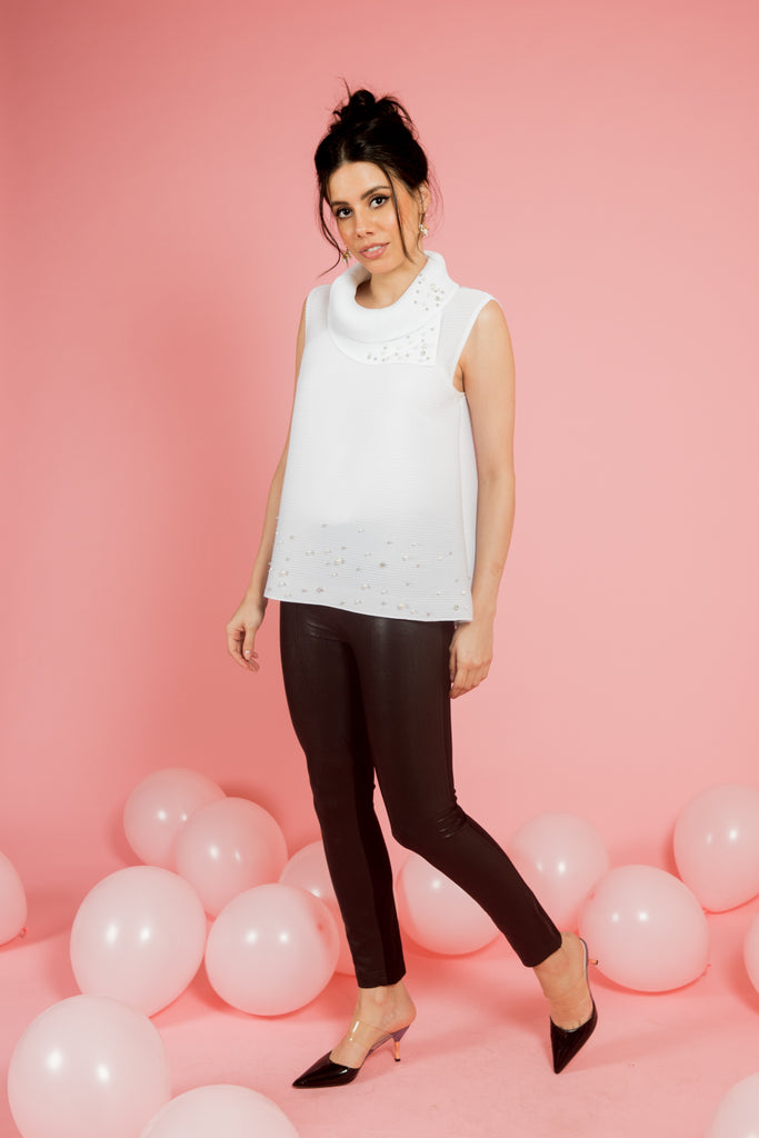 White Pleated Top With Pearls