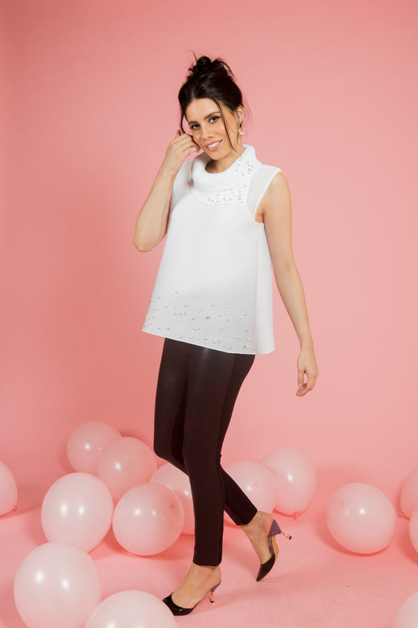 White Pleated Top With Pearls - Spotstyl