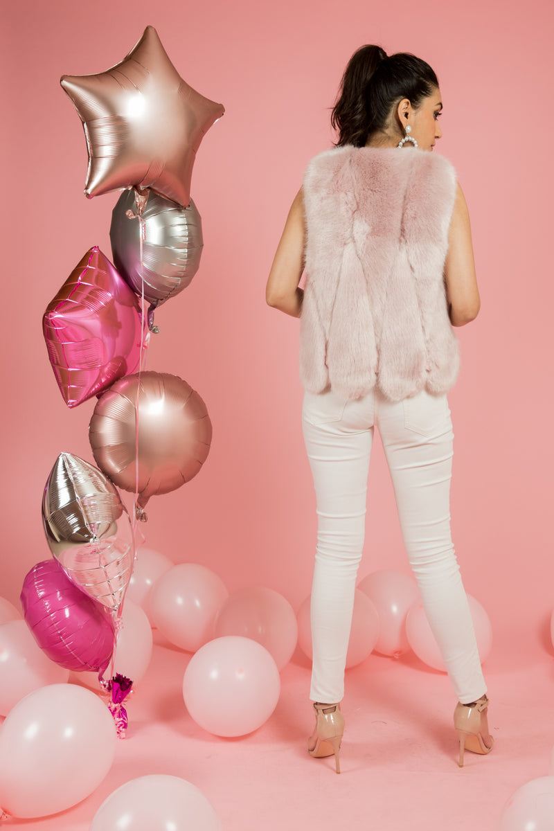 Powder Pink Tulip Fur Vest