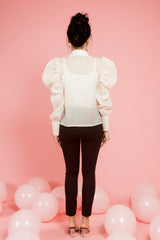 White organza top with white lace embroidery - Spotstyl