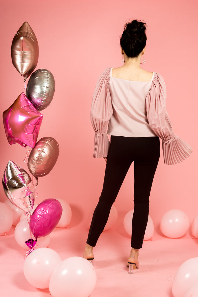 Pink Top with Pleated Bell Sleeves