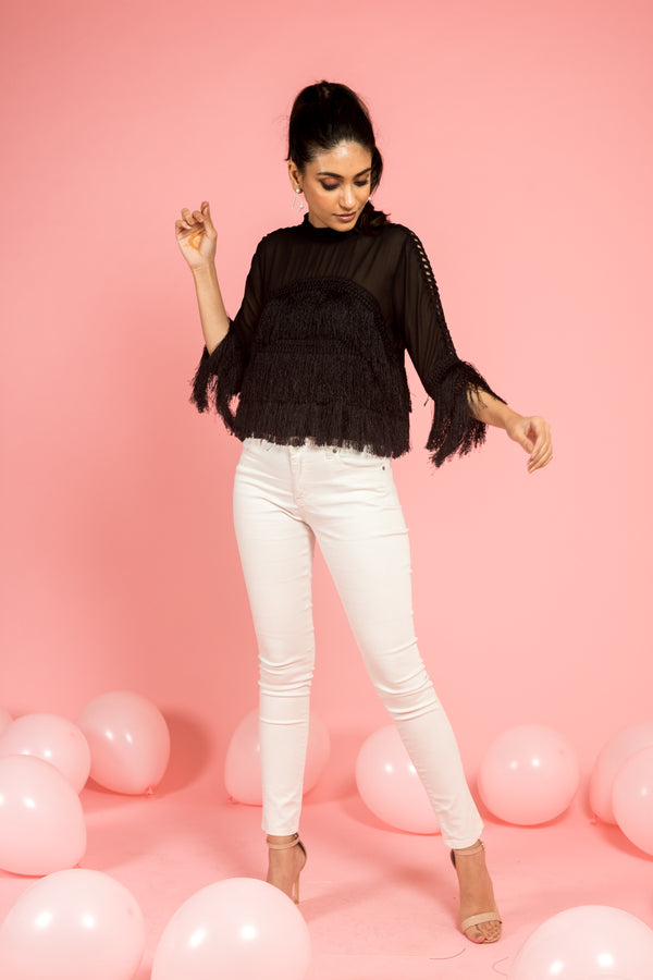 Black Fringed Trim Top