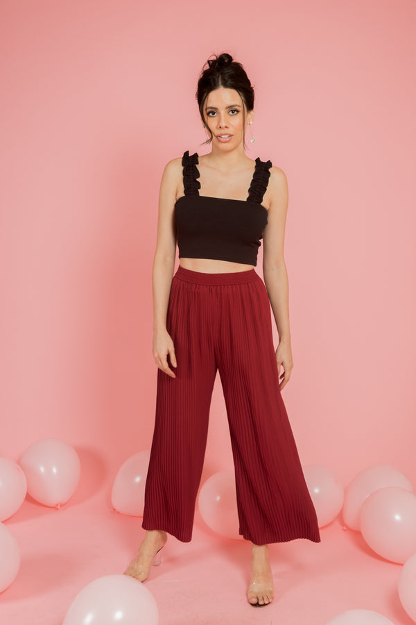 Wine Pleated Pants - Spotstyl