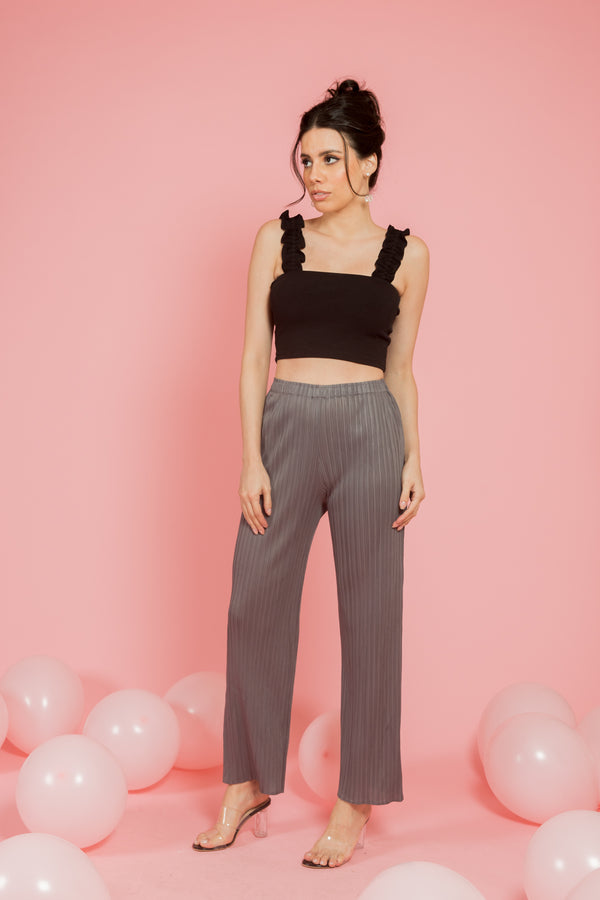 Grey pleated pants - Spotstyl