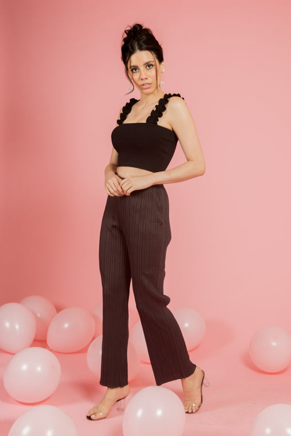 Coffee pleated pants - Spotstyl