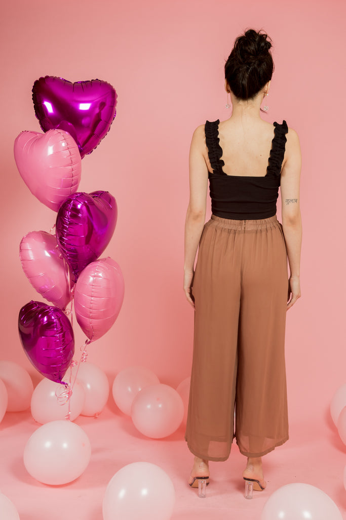 Tan High Waist Pants with Front Pleats