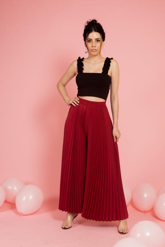 Wine Flare Pleated Pants