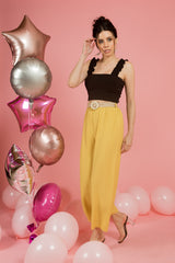 Yellow High Waisted Pants with belt - Spotstyl