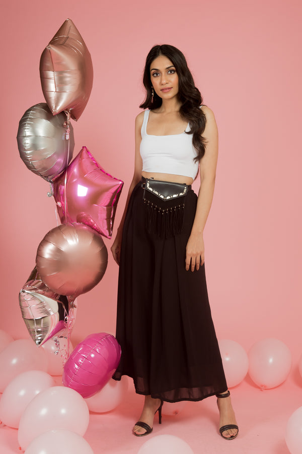 Black High Waist Pants with Front Pleats - Spotstyl
