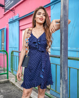 BLUE POLKA DOT RUFFLE WRAP DRESS - Spotstyl