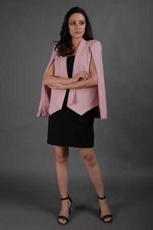 Pink Cape Sleeves Blazer