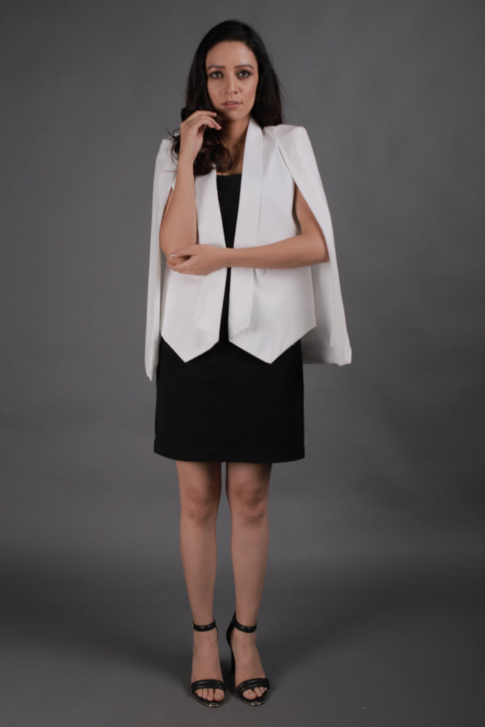 White Blazer With Cape Sleeves