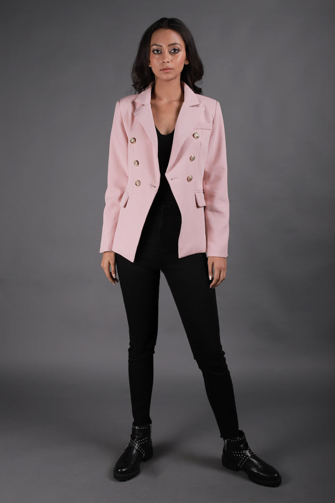Powder Pink Blazer With Gold Buttons Detailing