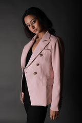 Powder Pink Blazer With Gold Buttons Detailing - Spotstyl