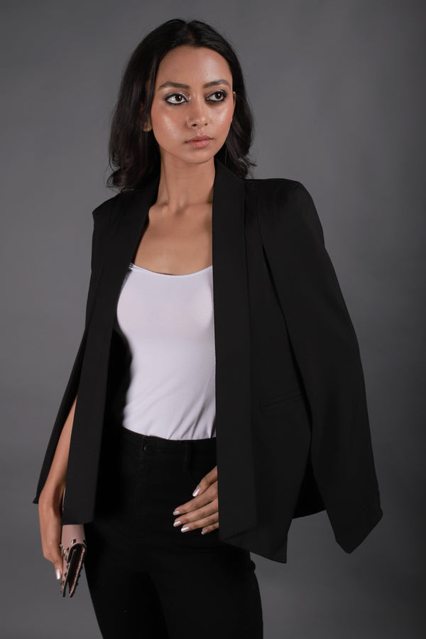 Black Blazer With Cape Sleeves