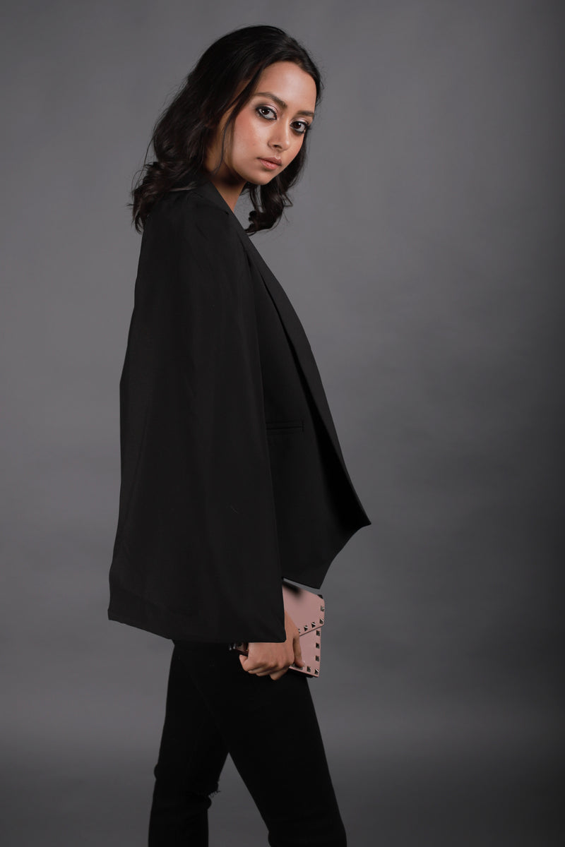 Black Blazer With Cape Sleeves - Spotstyl