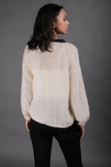 Off White Fur Sweater With Bow - Spotstyl