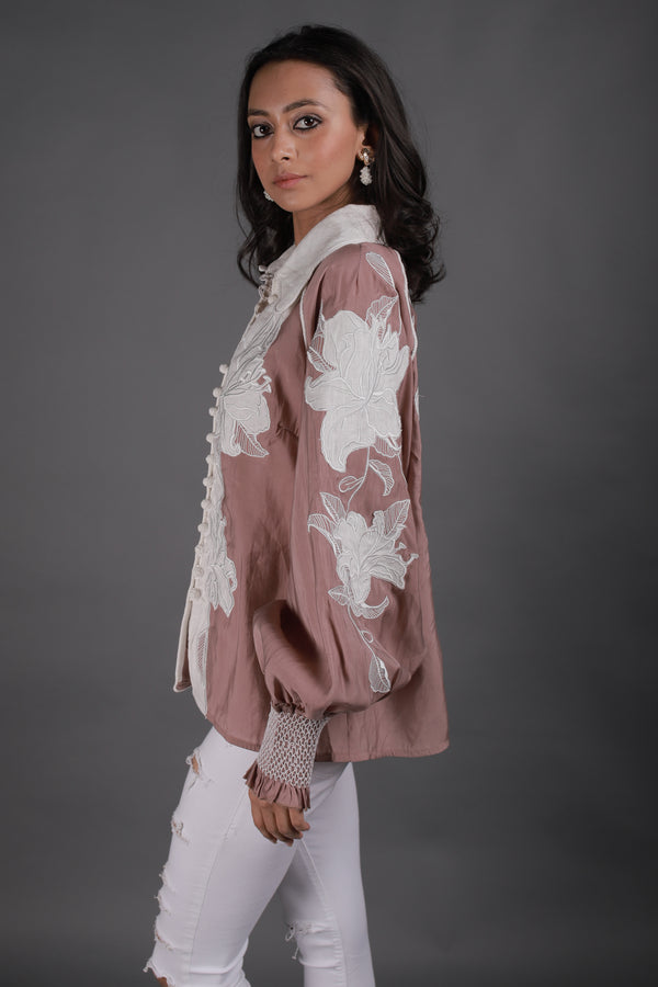 Rose Pink Shirt with White Lace Embroidery - Spotstyl