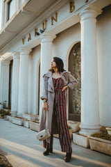 Wine & Black Stripe Belted Jumpsuit - Spotstyl
