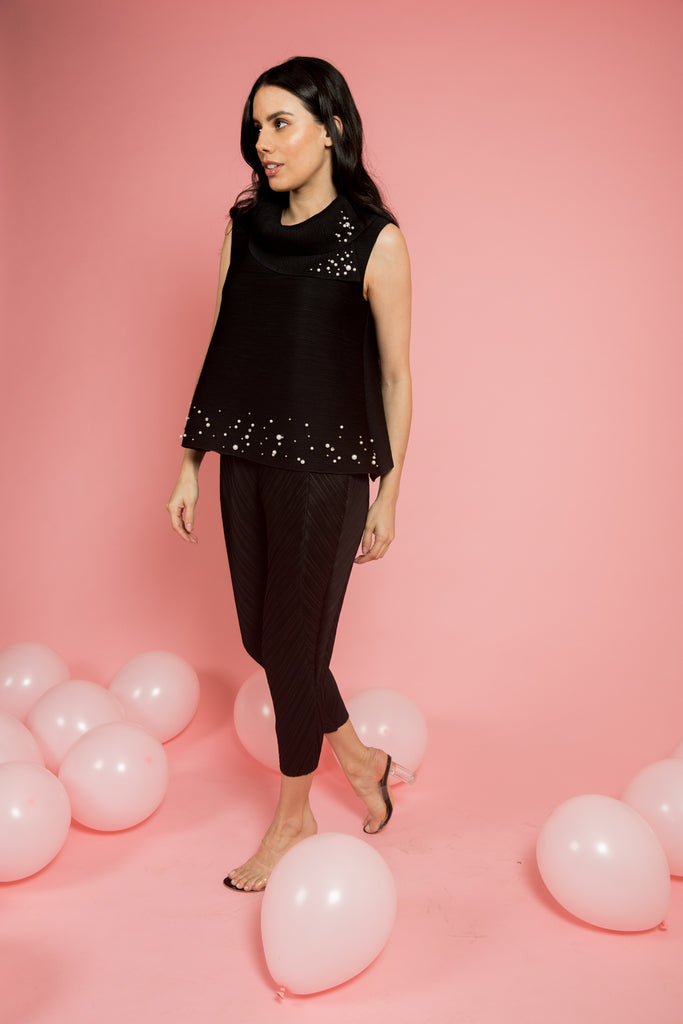 Black Pleated Top With Pearls