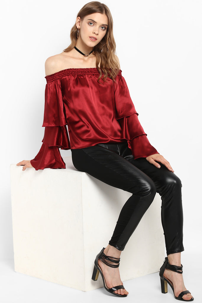 Maroon Off Shoulder Tiered Bell Sleeves Satin Top