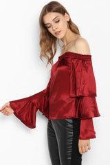 Maroon Off Shoulder Tiered Bell Sleeves Satin Top - Spotstyl