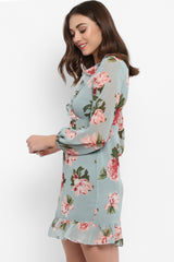 Mint Green Floral Wrap Ruffle Dress with Balloon Sleeves