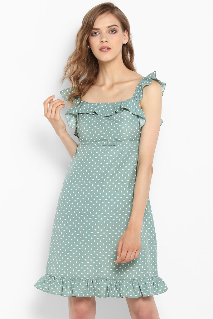 Mint Green Polka Dot Ruffle Trim Dress