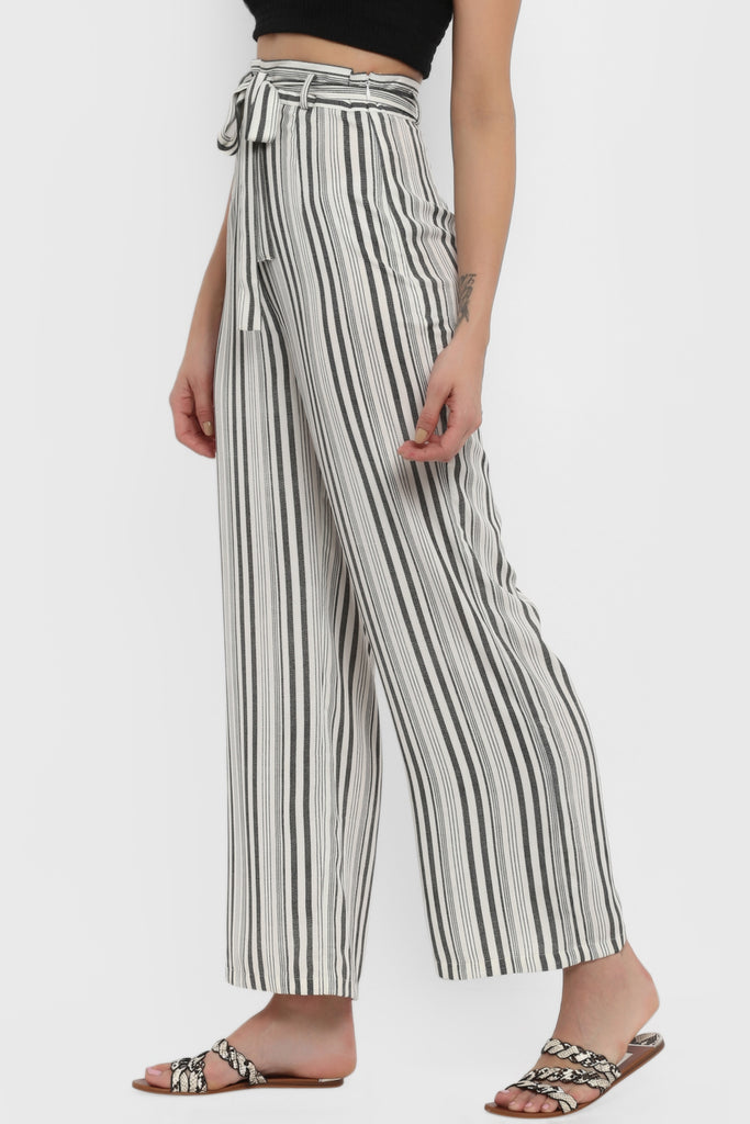 Monochrome Striped Wide Leg Pants with Belt