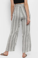 Monochrome Striped Wide Leg Pants with Belt - Spotstyl