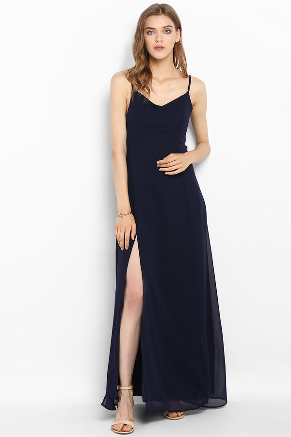 Navy Blue Knot-Tie Maxi Dress - Spotstyl