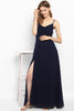 Navy Blue Knot-Tie Maxi Dress