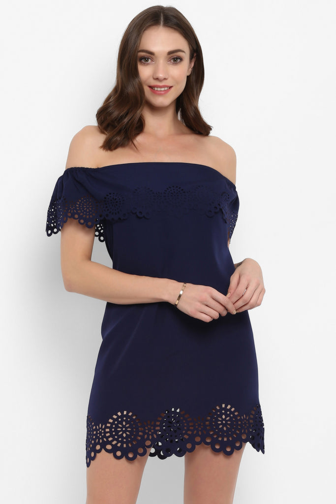 Navy Blue Off Shoulder Laser Cut Dress
