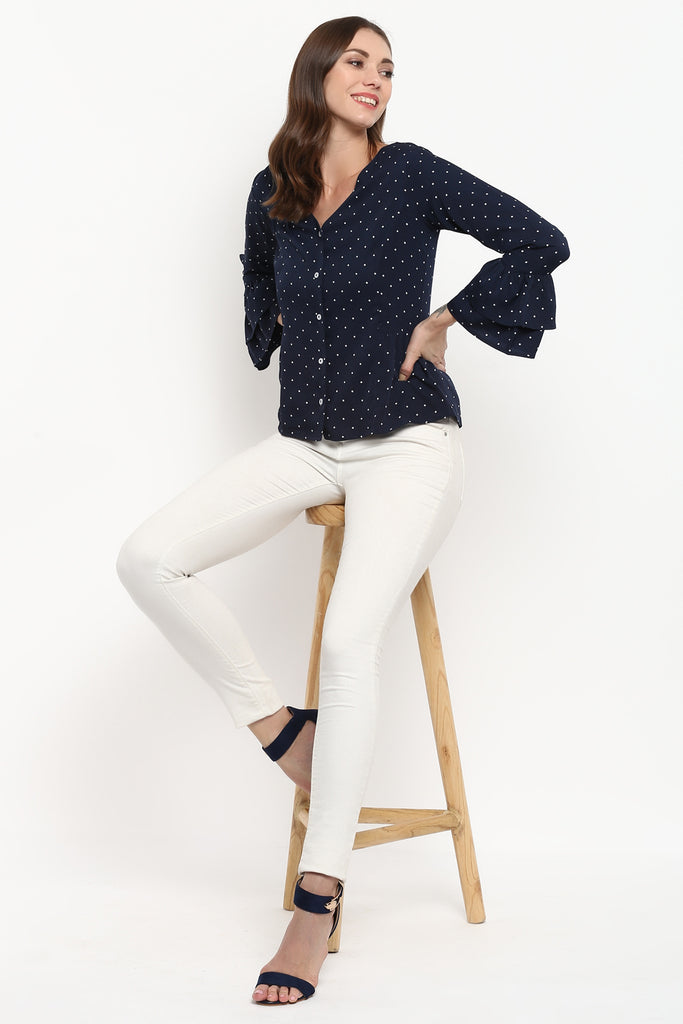 Navy Blue Polka Dot Tiered Sleeves Top