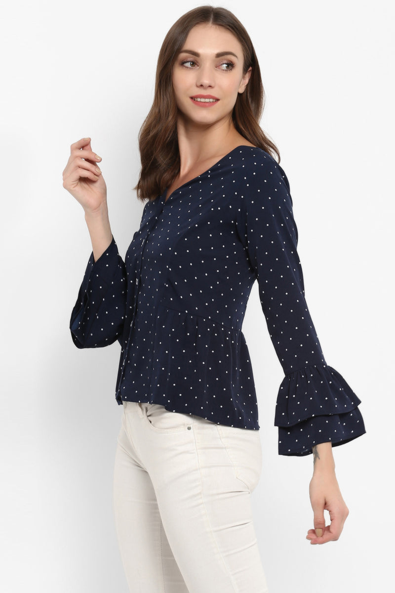 Navy Blue Polka Dot Tiered Sleeves Top - Spotstyl