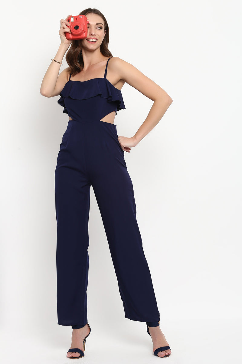 Navy Blue Ruffle Waist Cut Out Jumpsuit - Spotstyl