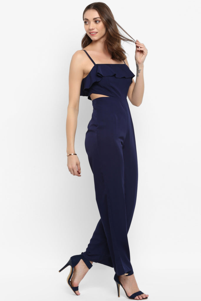 Navy Blue Ruffle Waist Cut Out Jumpsuit
