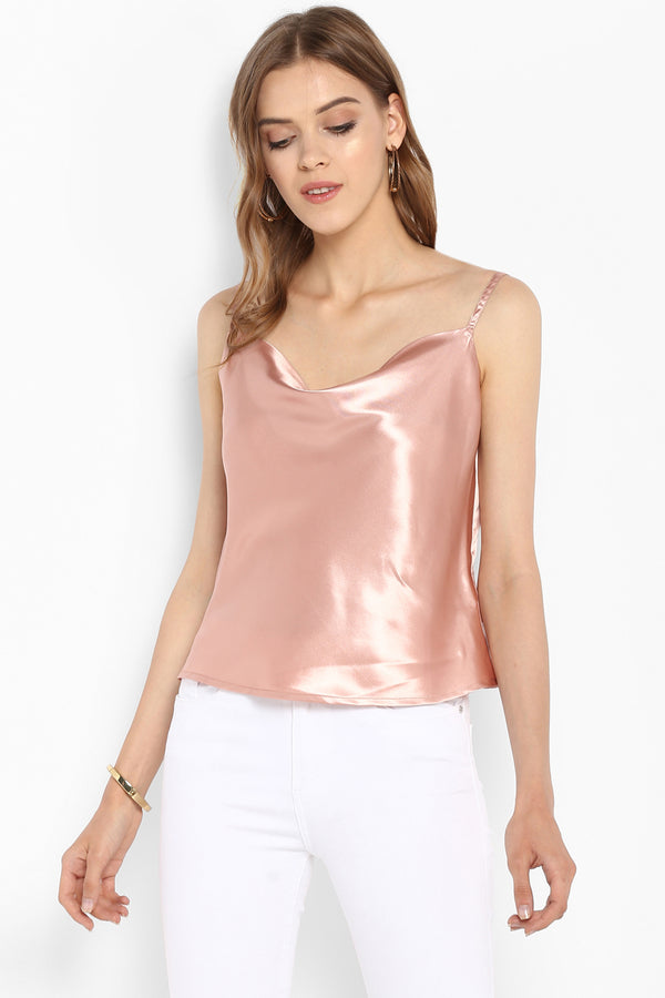 Nude Satin Cowl Neck Camisole Top - Spotstyl